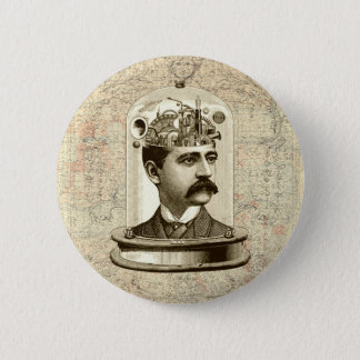 Vintage steampunk clockwork brain, moustache  man button
