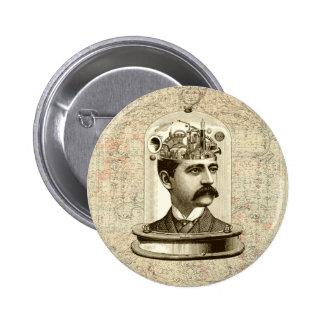 Vintage steampunk clockwork brain, moustache  man button