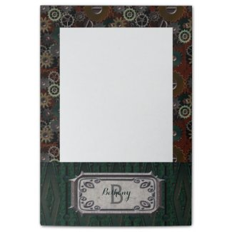 Vintage Steampunk Clockwork Gears Monograms Notes