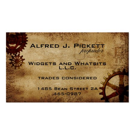 Antique Steampunk Cogs and Brown Vintage Blueprint Background Business Cards