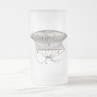Vintage Steampunk Flying Contraption Frosted Glass Beer Mug