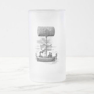 Vintage Steampunk Flying Machine Frosted Glass Beer Mug