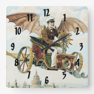 vintage steampunk flying machines art square wall clock