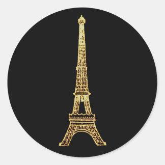 Vintage Steampunk French Chic Paris Eiffel Tower Round Stickers