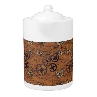 Vintage Steampunk Gears Wallpaper Teapot
