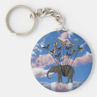 Vintage Steampunk Gifts Elephant and Butterflies Basic Round Button Keychain