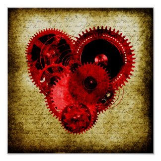 Vintage Steampunk Heart Poster