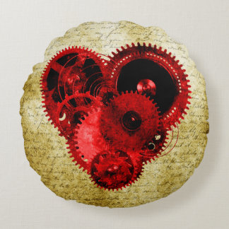 Vintage Steampunk Heart Round Pillow