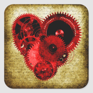 Vintage Steampunk Heart Square Sticker