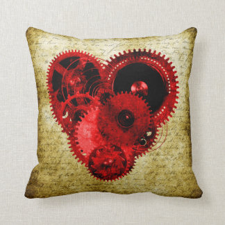 Vintage Steampunk Heart Throw Pillow