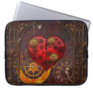 Vintage Steampunk Hearts Wallpaper Computer Sleeve