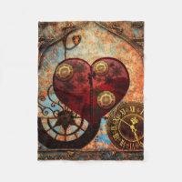 Vintage Steampunk Hearts Wallpaper Fleece Blanket