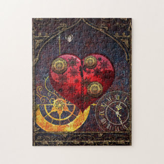 Vintage Steampunk Hearts Wallpaper Jigsaw Puzzle