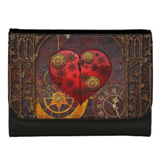 Vintage Steampunk Hearts Wallpaper Leather Wallets