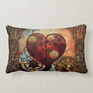 Vintage Steampunk Hearts Wallpaper Lumbar Pillow
