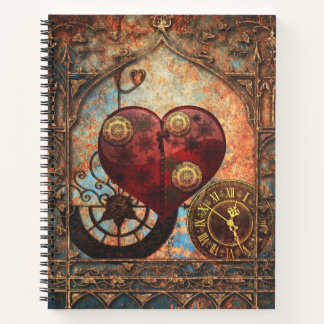 Vintage Steampunk Hearts Wallpaper Notebook