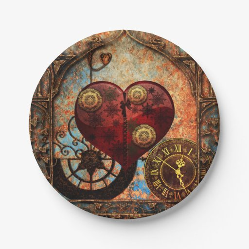 Punk Wallpaper: Vintage Steampunk Hearts Wallpaper Paper Plate