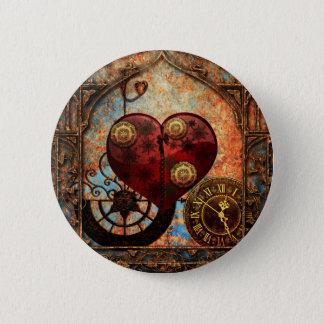 Vintage Steampunk Hearts Wallpaper Pinback Button