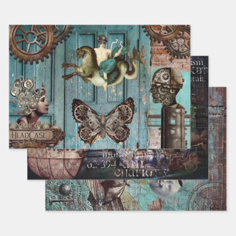 VINTAGE STEAMPUNK HEAVY WEIGHT DECOUPAGE WRAPPING PAPER SHEETS