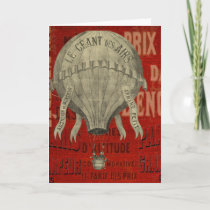 Vintage Steampunk Hot Air Ballon Ride Personalized Holiday Card
