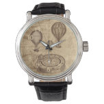Vintage Steampunk Hot Air Ballons On Old Map Wristwatch at Zazzle
