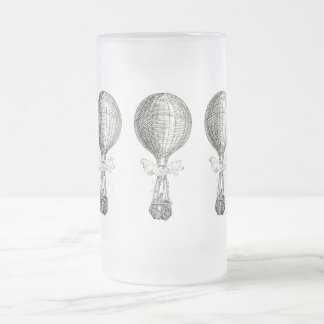 Vintage Steampunk Hot Air Balloon Frosted Glass Beer Mug