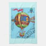 Vintage Steampunk Hot Air Balloon Kitchen Towels