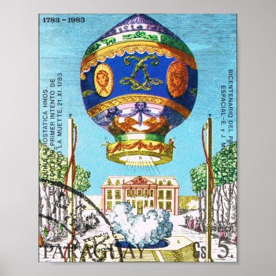 Vintage Steampunk Hot Air Balloon Poster