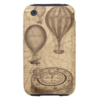 vintage steampunk hot air balloons and compass iPhone 3 tough cover