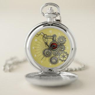 Vintage Steampunk Inspired Mechanical Graphic Pocket Watch