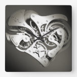 Vintage Steampunk Mechanical Heart - B&W Square Wall Clocks