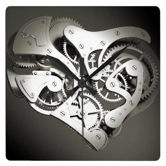 Vintage Steampunk Mechanical Heart - B&W Square Wallclocks