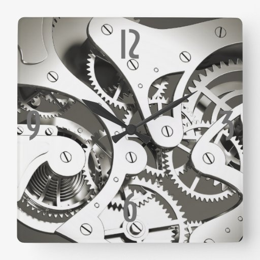 Vintage Steampunk Mechanical Heart - B&W Square Wall Clock