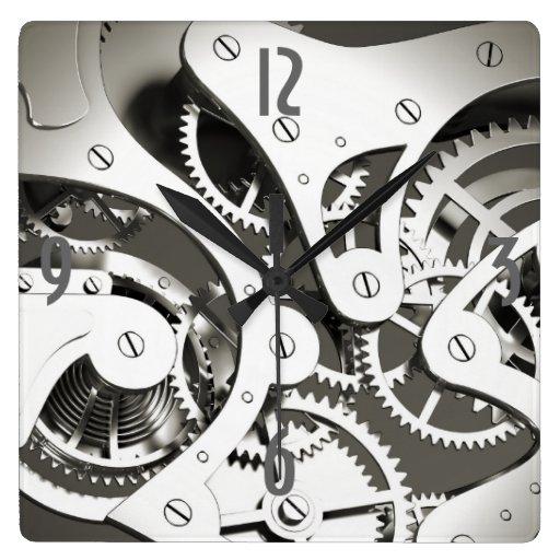 Vintage Steampunk Mechanical Heart - B&W Square Wall Clock