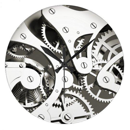 Vintage Steampunk Mechanical Heart - B&W Large Clock