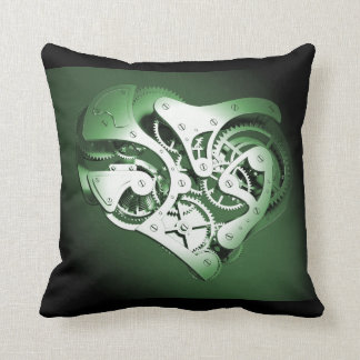 Vintage Steampunk Mechanical Heart - Green Throw Pillow