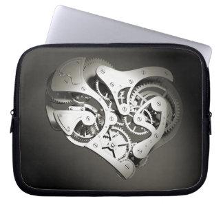 Vintage Steampunk Mechanical Heart - Platinum B&W Laptop Sleeve