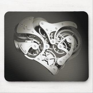Vintage Steampunk Mechanical Heart - Platinum B&W Mouse Pads