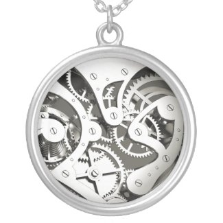 Vintage Steampunk Mechanical Heart - Platinum B&W Necklaces