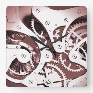 Vintage Steampunk Mechanical Heart - Red Square Wall Clock
