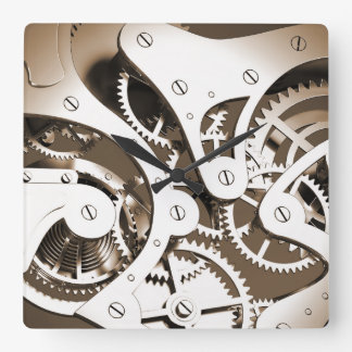 Vintage Steampunk Mechanical Heart - Sepia Square Wall Clock