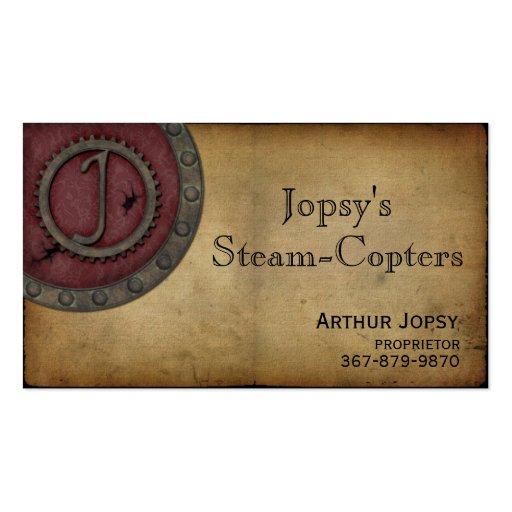 Vintage Steampunk Monogram Claret J Business Card Template