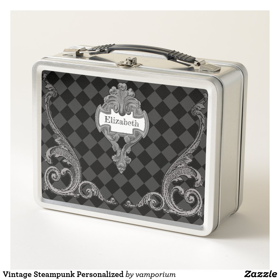 Vintage Steampunk Personalized Metal Lunch Box
