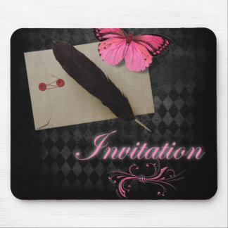 Vintage steampunk Pink Butterfly gothic wedding Mouse Pad