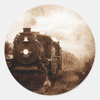Vintage Steampunk Railroad Antique Steam Train Classic Round Sticker