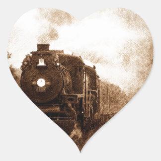Vintage Steampunk Railroad Antique Steam Train Heart Sticker