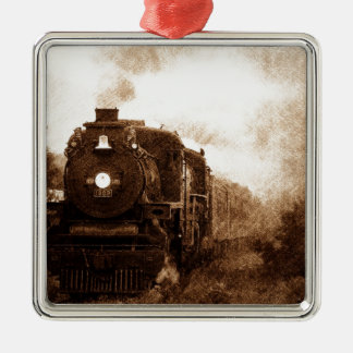 Vintage Steampunk Railroad Antique Steam Train Metal Ornament