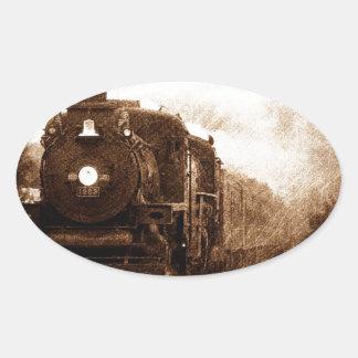 Vintage Steampunk Railroad Antique Steam Train Oval Sticker