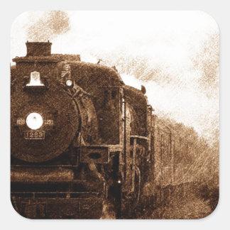 Vintage Steampunk Railroad Antique Steam Train Square Sticker