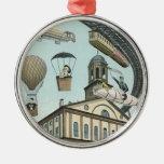 Vintage Steampunk Science Fiction Victorian City Christmas Ornament